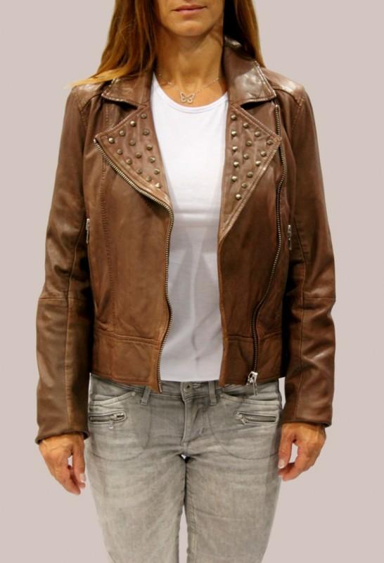 blouson en cuir d 39 agneau lpb femme marron stormie femme collection achat vestes et maroquinerie. Black Bedroom Furniture Sets. Home Design Ideas