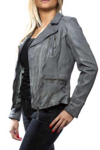 Blouson cuir Oakwood Camera Gris
