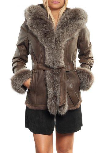 Manteau femme fourrure lapinrenard giovanni newone taupe