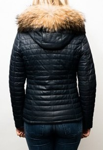 Blouson Doudoune cuir  Oakwood Happy Blue.