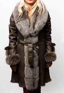 Manteau Fourrure Lapin Renard Giovanni Bruna Marron